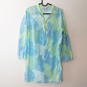 Lilly Pulitzer Blue Green Coral Print Tunic Dress